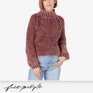 Free People Sweetheart Cotton Sweater Garnet Size Medium New with Tags